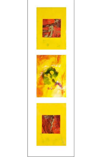 Summer Triptych framed 36x13.5