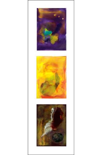 Sunset Triptych framed 36x13.5